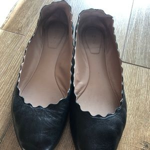 Chloe scalloped flats in black leather size 38.5